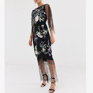 ASOS Floral embroidered fringe midi dress 6